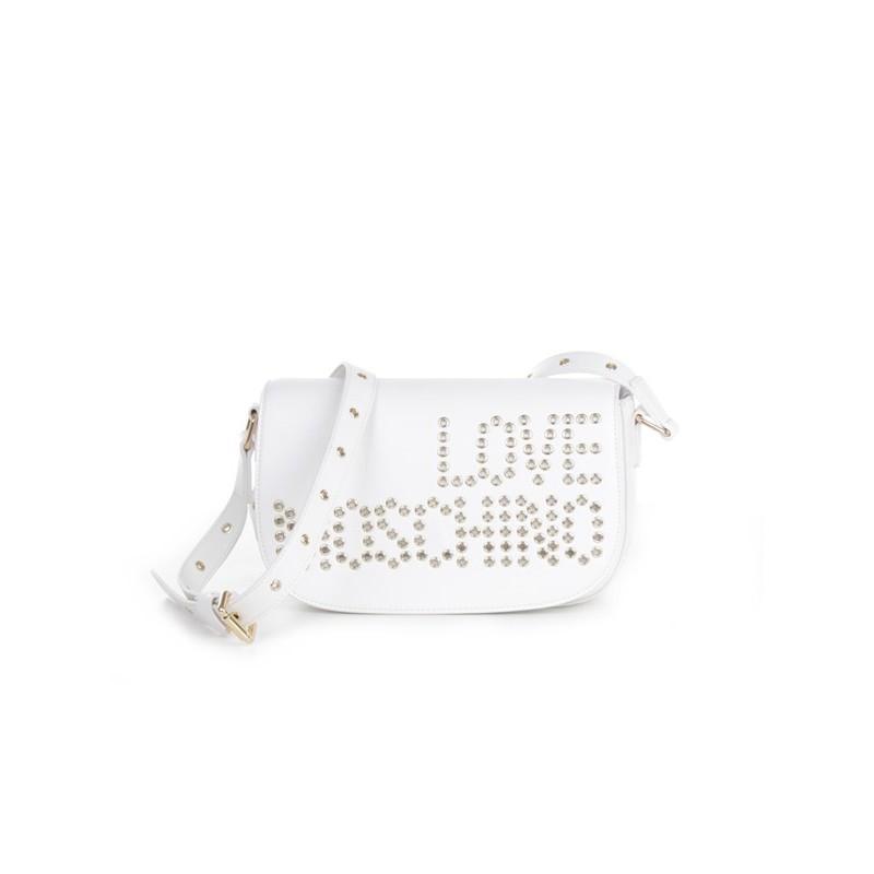 LOVE MOSCHINO - Borsa a tracolla con logo borchiato frontale - Bianco -