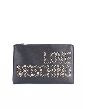LOVE MOSCHINO - Soft Studded Clutch Bag - Black -