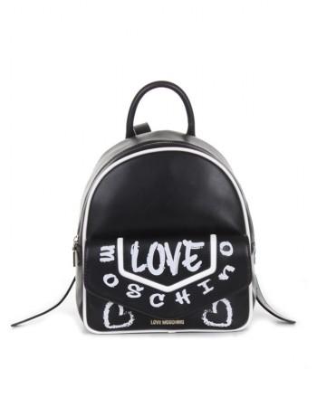 LOVE MOSCHINO - Graffiti Logo Backpack -Black/White