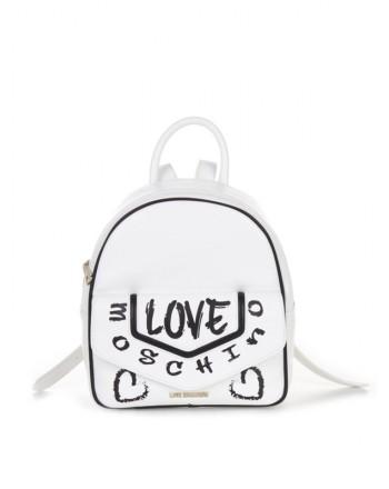 LOVE MOSCHINO - Zaino Logo Graffiti - Bianco/Nero