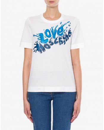 LOVE MOSCHINO - T-Shirt Stampa SPLASH LOGO - Bianco/Blu