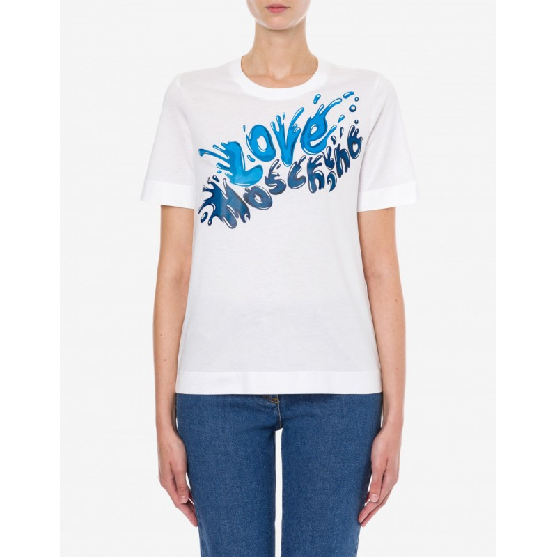LOVE MOSCHINO - SPLASH LOGO Printed T-Shirt -White/Blue