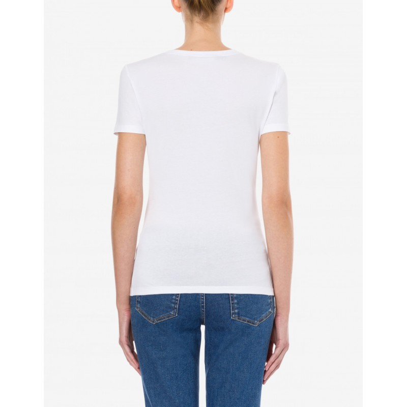 LOVE MOSCHINO - SHINY PALM TREES stretch jersey t-shirt - White