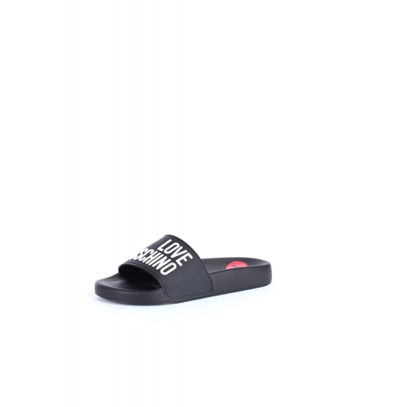 LOVE MOSCHINO - Logo Rubber Slippers - Black