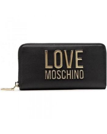 LOVE MOSCHINO - Gold Metal Logo Love Moschino Wallet - BLACK -