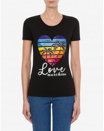 LOVE MOSCHINO - T-shirt in jersey strech  SHINY PALM TREES - Nero