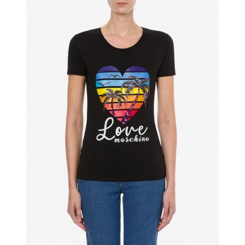 LOVE MOSCHINO - SHINY PALM TREES stretch jersey t-shirt - Black