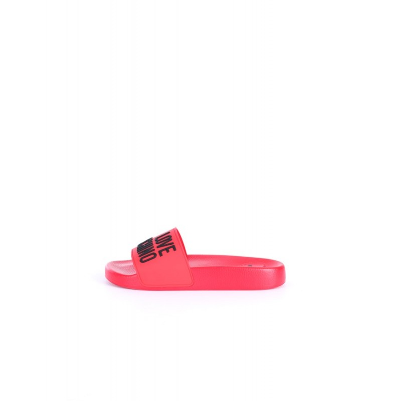 LOVE MOSCHINO - Logo Rubber Slippers - Red