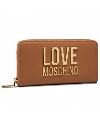 LOVE MOSCHINO - Gold Metal Logo Love Moschino Wallet - Leather -