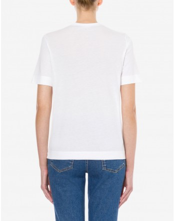 LOVE MOSCHINO T- shirt in jersey PUNK SLOGAN - Bianco