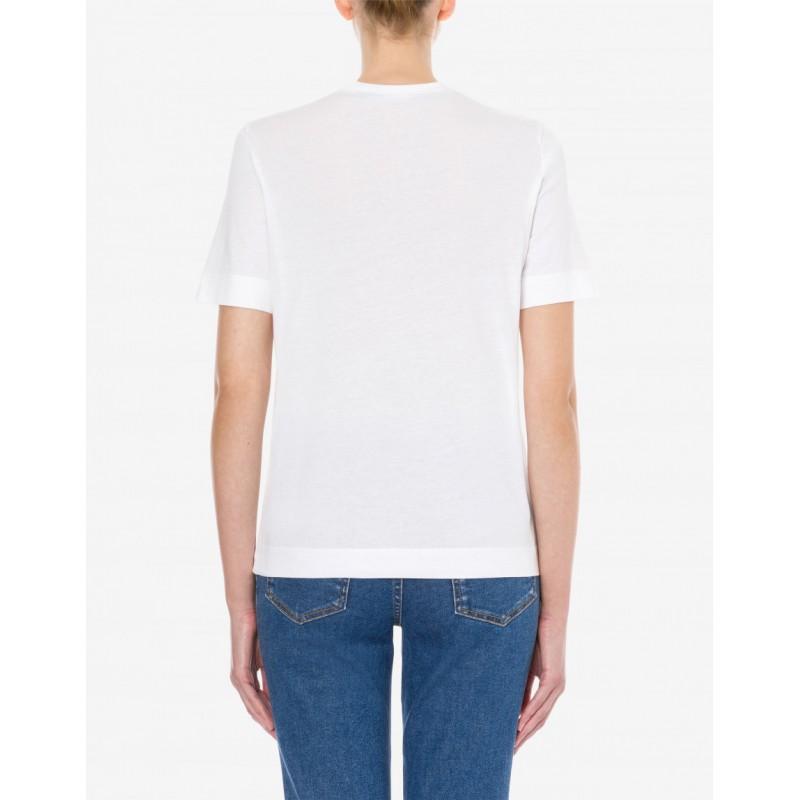 LOVE MOSCHINO PUNK SLOGAN jersey T-shirt - White