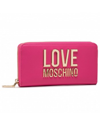 LOVE MOSCHINO - Gold Metal Logo Love Moschino Wallet - Fucsia -