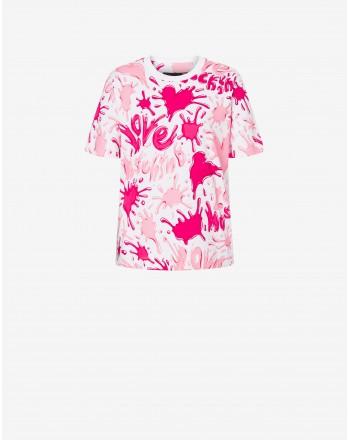 LOVE MOSCHINO - SPLASH LOGO T-Shirt - White/Pink