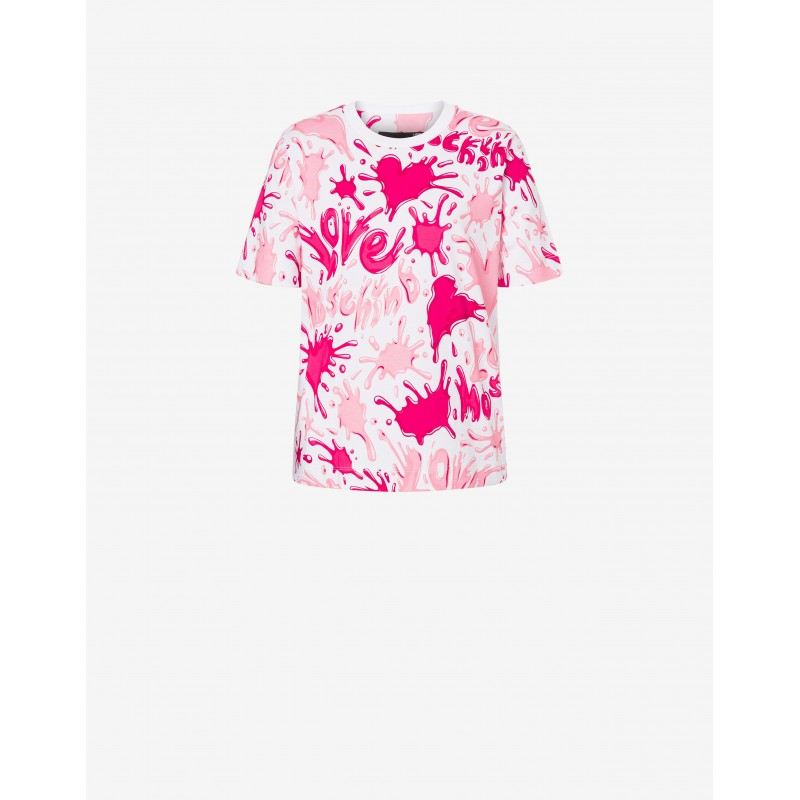 LOVE MOSCHINO - T-Shirt Stampa SPLASH LOGO - Bianco/rosa