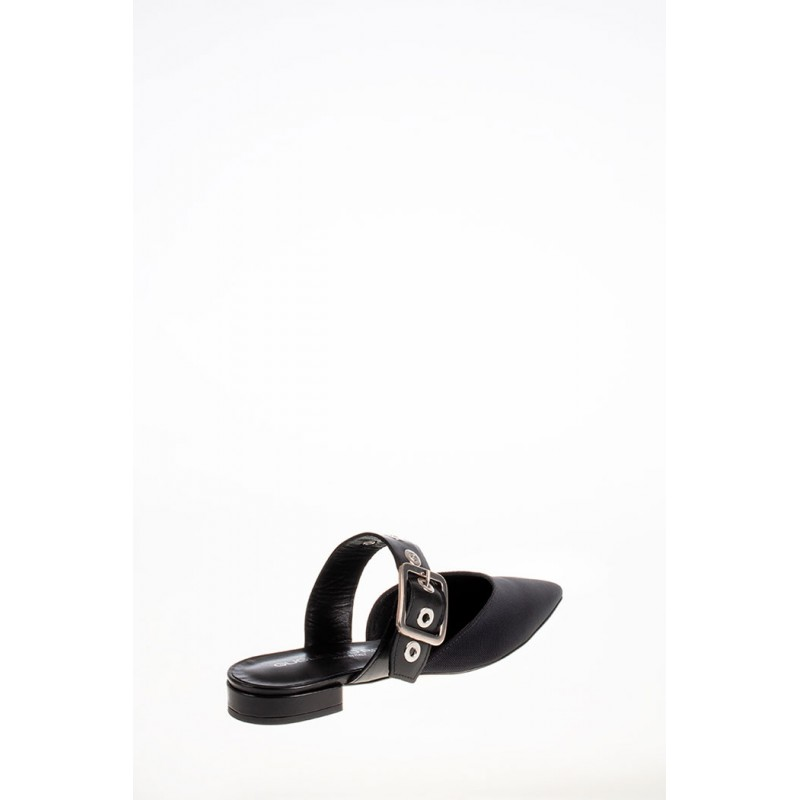 GUGLIELMO ROTTA - Leather and Fabric Mules - Black