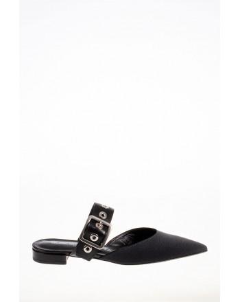 GUGLIELMO ROTTA - Leather and Fabric Mules - Black