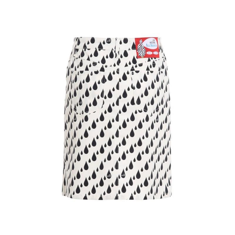 LOVE MOSCHINO Minigonna con stampa RAIN - Nero/Bianco