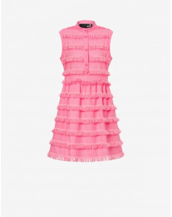 LOVE MOSCHINO - Embroidered canvas dress with fringes - Pink