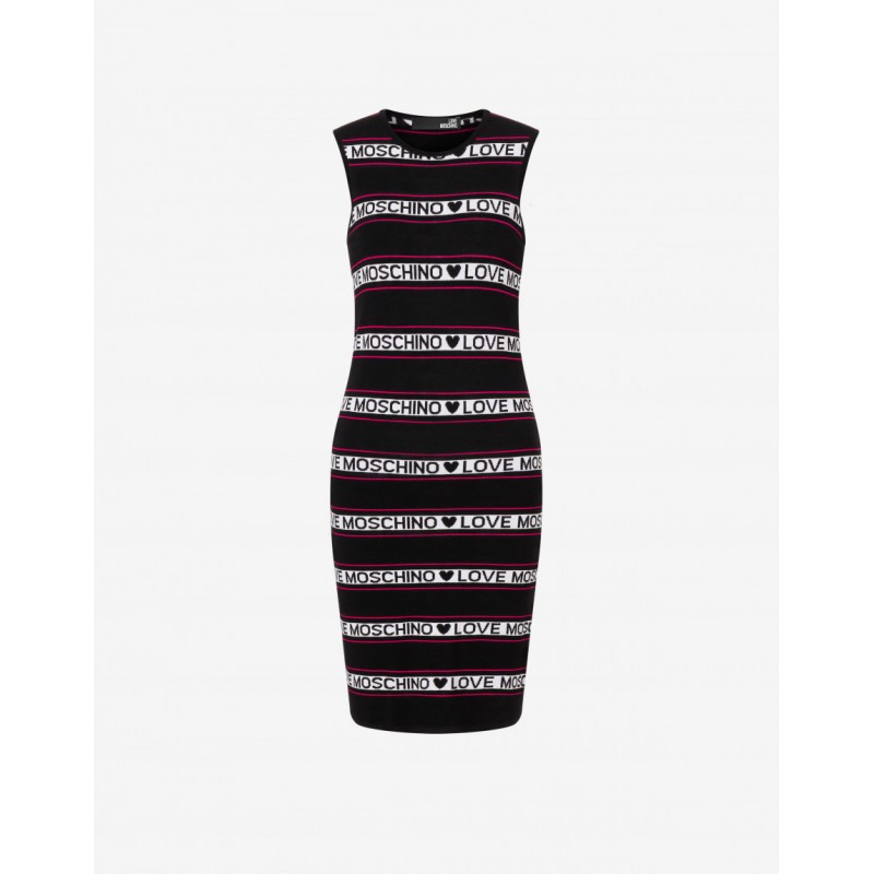LLOVE MOSCHINO - LOGO STRIPES plain knit dress - Black