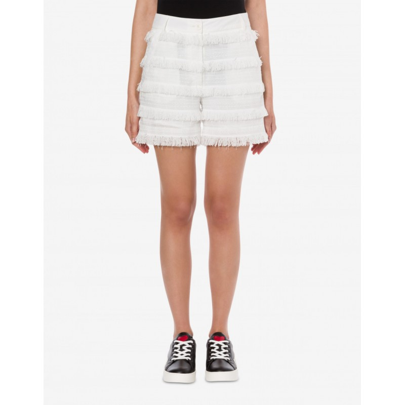 LOVE MOSCHINO - Embroidered canvas shorts with fringes - White