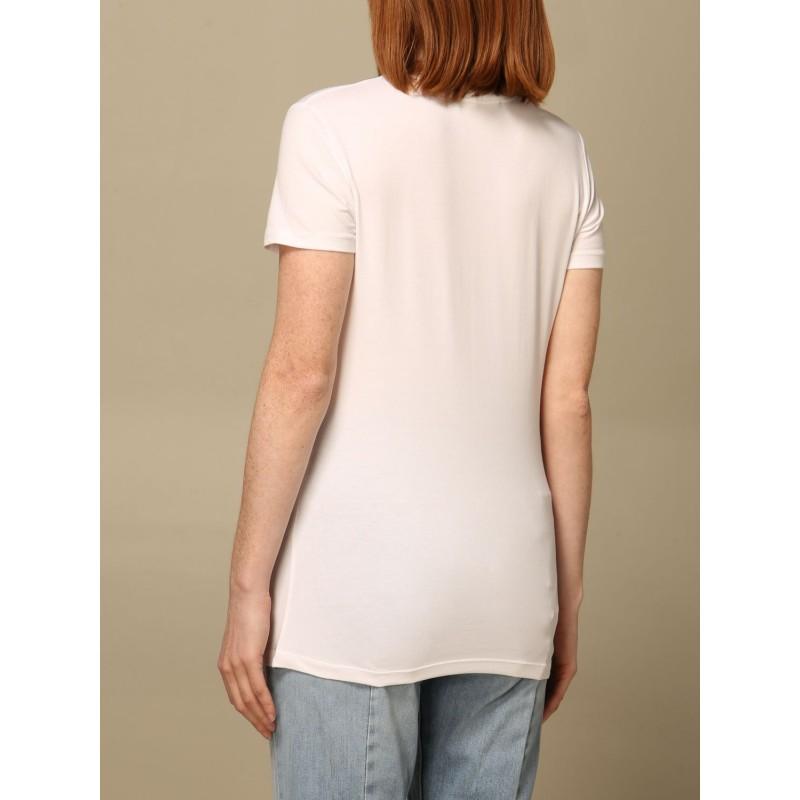 LOVE MOSCHINO - T-shirt with rhinestone logo - White