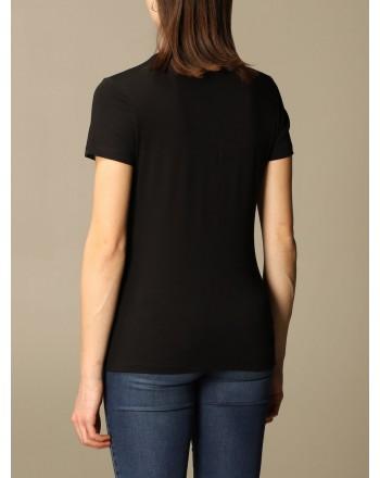 LOVE MOSCHINO - T-shirt with rhinestone logo - Black