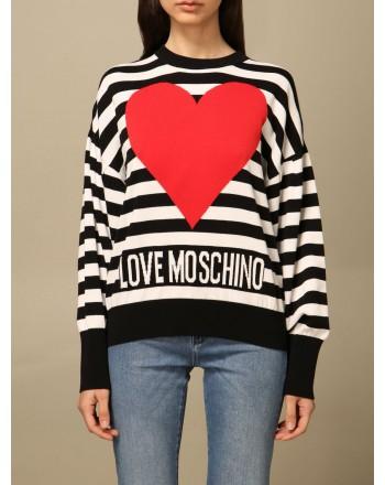 LOVE MOSCHINO - Maglia a girocollo in cotone con logo a righe - Nero