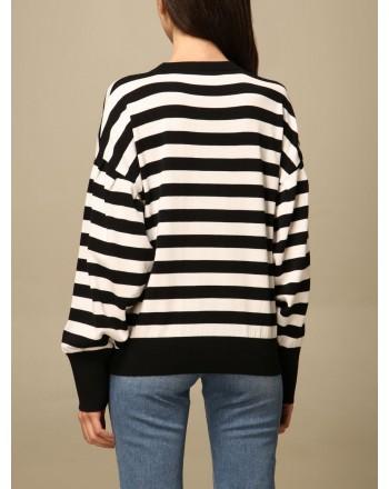 LOVE MOSCHINO - Cotton crewneck sweater with striped logo - Black