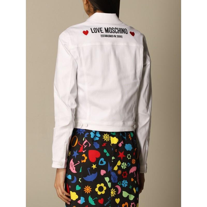 LOVE MOSCHINO - Giacca di jeans con logo posteriore - Bianco