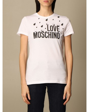 LOVE MOSCHINO - ALL OVER DROPS print T-shirt - White