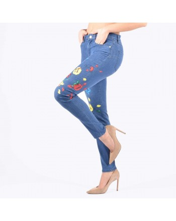 LOVE MOSCHINO - Jeans stampa floreale Denim Medio - Stampa