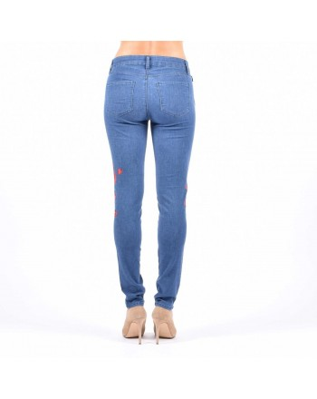LOVE MOSCHINO - Jeans stampa floreale Denim Medio - Stampa