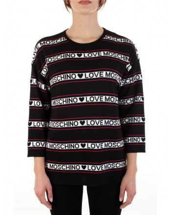LOVE MOSCHINO - Striped patterned sweater with 3/4 sleeves - Black