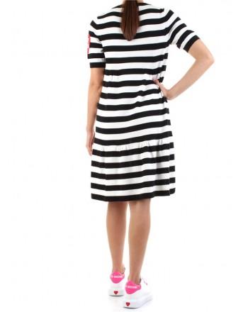 LOVE MOSCHINO - Striped half sleeve dress - Black
