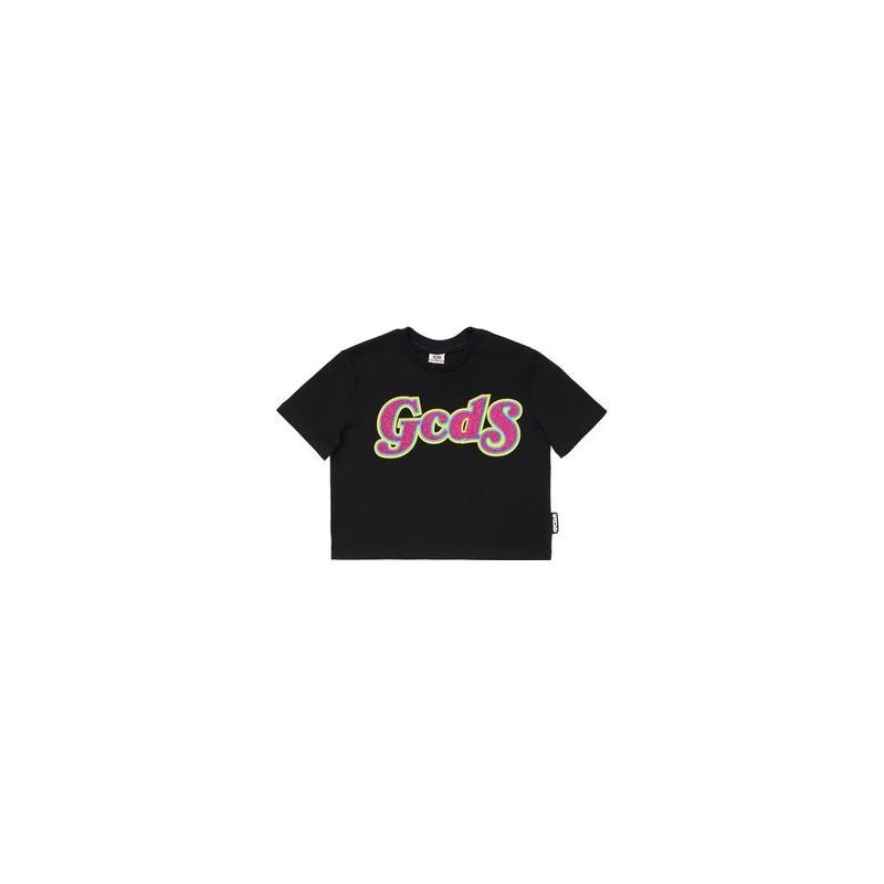 GCDS Mini - T-shirt cropped con stampa - Nero