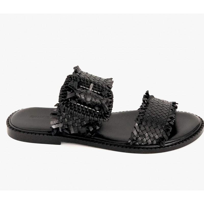 EMANUELLE VEE - Sandalo in Pelle Doppia Fascia - Nero