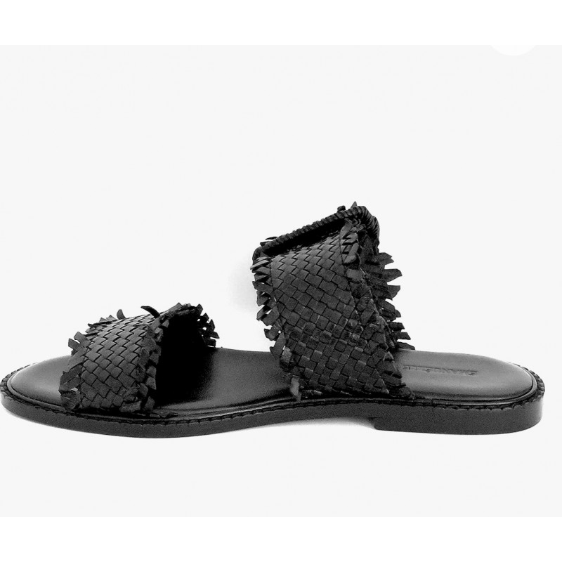 EMANUELLE VEE - Leather Double Straps Sandals - Black