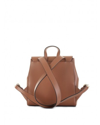LOVE MOSCHINO - Backpack in hammered eco-leather with flap - Leather