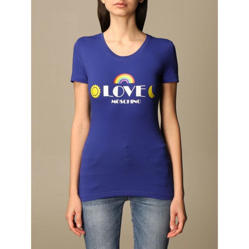 LOVE MOSCHINO - T-shirt con stampa logo- Blu