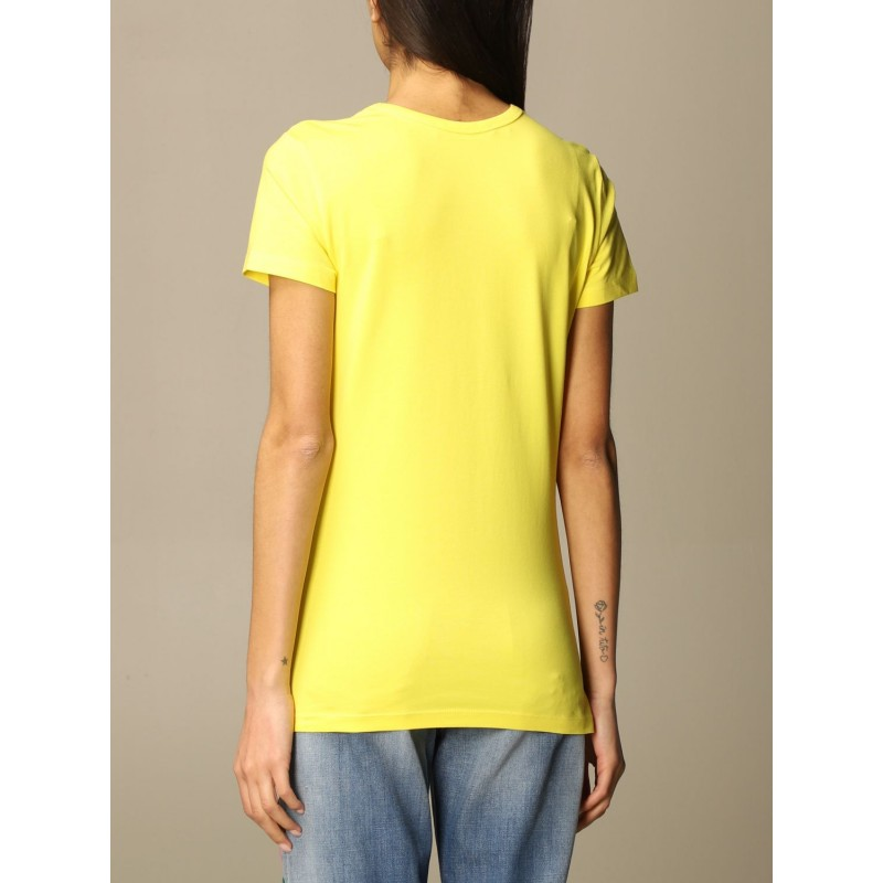 LOVE MOSCHINO - Cotton T-shirt with patches - Yellow