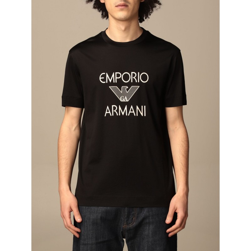 EMPORIO ARMANI - Cotton T-shirt with 3K1TAF logo - Black
