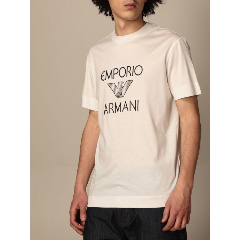 EMPORIO ARMANI - Cotton T-shirt with 3K1TAF logo - White