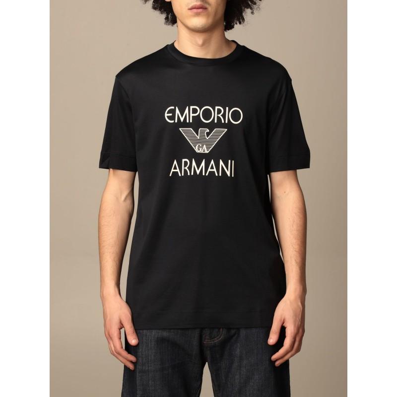 EMPORIO ARMANI - Cotton T-shirt with 3K1TAF logo - Navy Blue -