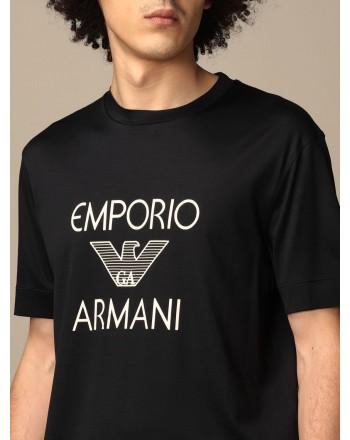 EMPORIO ARMANI - T-shirt in cotone con logo 3K1TAF - Blu -