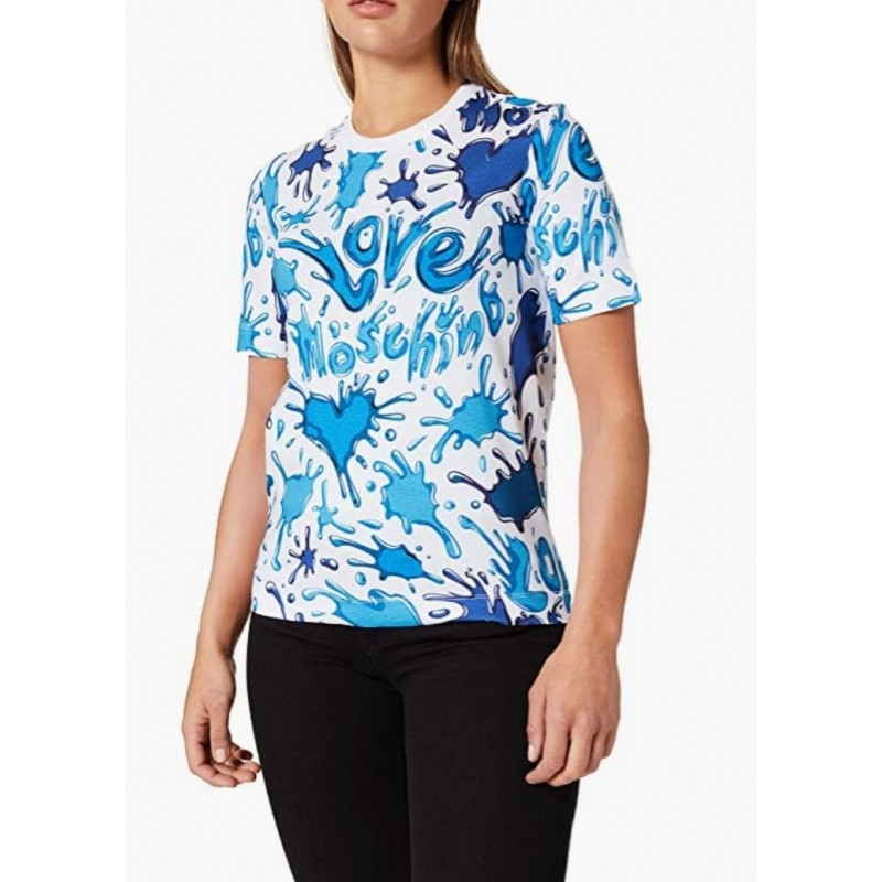 LOVE MOSCHINO - T-Shirt Stampa SPLASH LOGO - Azzurro