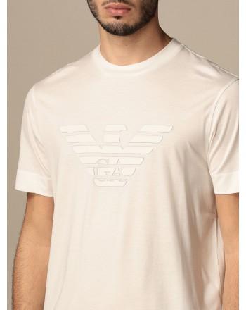 EMPORIO ARMANI - Cotton T-shirt with rubberized logo 3K1TAG - White -