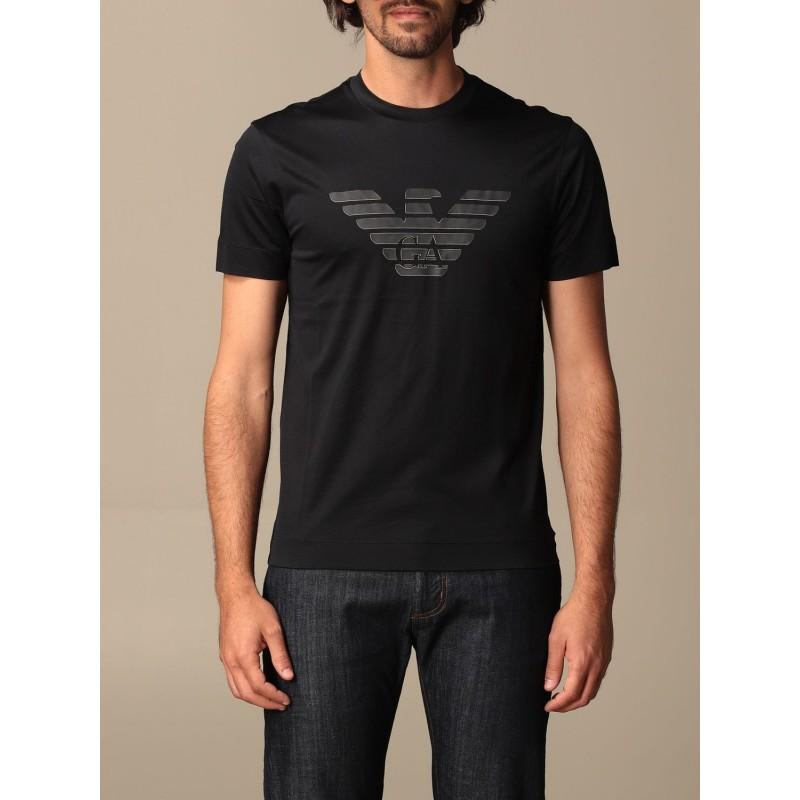EMPORIO ARMANI - Cotton T-shirt with rubberized logo 3K1TAG - Navy -