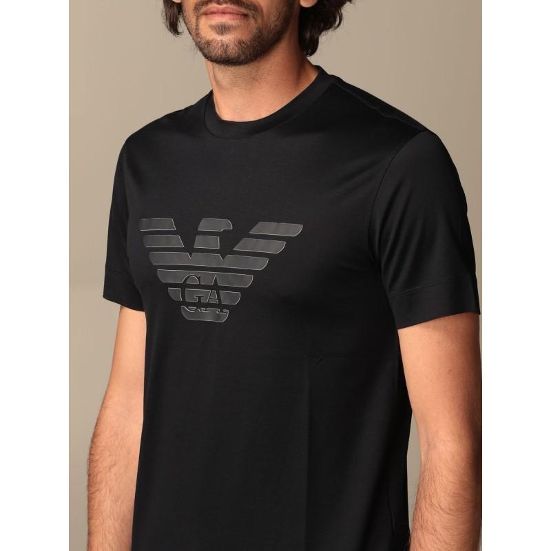EMPORIO ARMANI - T-shirt in cotone con logo gommato 3K1TAG - Navy -