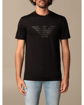 EMPORIO ARMANI - Cotton T-shirt with rubberized logo 3K1TAG - Nero -