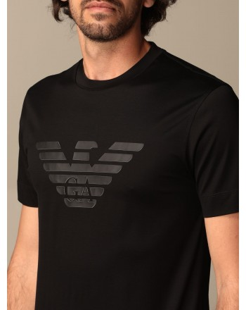 EMPORIO ARMANI - T-shirt in cotone con logo gommato 3K1TAG - Nero -